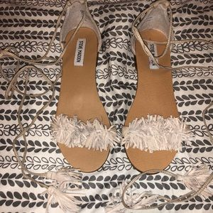 Women's Steven Madden Lace Up Nude Sandal 7.5